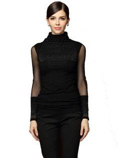 Beads High Collar Long Sleeve Black T-Shirt