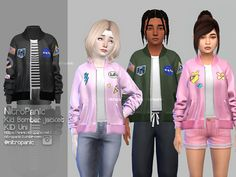 Sims 4 cc custom content kids clothing kid bomber jacket for the sims 4 default tees color is only white tees color changer can use to change color of the tees find under gloves category sims 4 hairs ~ simiracle anto`s alan hair retextured The Sims 4 Kids, The Sims 4 Bebes, The Sims 4 Pc, Sims 4 Children, Sims 4 Cas, Sims Cc, Sims 4 Toddler Clothes, Sims 4 Mods Clothes, Sims 4 Cc Kids Clothing