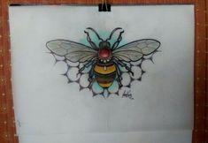 Neo Traditional bee tattoo design by Amy Rose - Australia Future Tattoos, Love Tattoos, Unique Tattoos, Hand Tattoos, Small Tattoos, Insect Tattoo, Dragonfly Tattoo, Traditional Ink, American Traditional