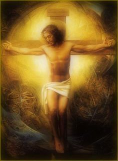 .Jesus Christ on the Cross with golden halo