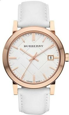 Rosegold on white Burberry watch. #Watch #Burberry