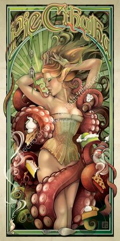 """Pie Cthulhu"" is a fanciful creation of Art Nouveau Illustrator Echo Chernik. Here she combines her love of H. Lovecraft and Art Nouveau style pin-up. Alphonse Mucha, Illustrations, Illustration Art, Mermaid Illustration, Le Kraken, Tarot, Art Nouveau, Motif Art Deco, Octopus Art"
