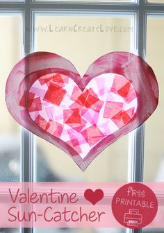 Valentine's Day is just around the corner and we have been enjoying all of the heart crafts. =) This is not our first heart sun-catcher craft. Valentine Crafts For Kids, Valentines Day Activities, Valentine Heart, Homemade Valentines, Valentine Ideas, Art Journal Pages, Heart Template, Crown Template, Flower Template