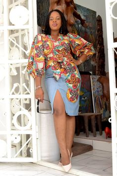Items similar to Ankara Set/Ankara Wrap Top/Bubble Sleeves/Plain Ankara Skirt with high slit/Applique/Quality Ankara/Women's Style on Etsy Ankara Styles For Kids, Unique Ankara Styles, Latest Ankara Styles, African Attire, African Wear, African Dress, African Style, African Beauty, African Inspired Fashion