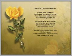 IF Roses grown in heaven poem for mother | Personalized If Roses Grow in Heaven Prayer Mother Poem | eBay