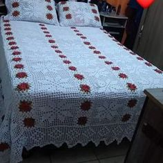 Crochet Tablecloth, Mattress, Comforters, Cross Stitch, Blanket, Furniture, Home Decor, Red Bedspread, Knitted Slippers