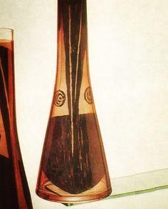 czech painted crystal glass vase designed by karel vanura in novy bor in 1966.