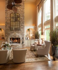 Sensational Traditional Living Room Design Interior Completed with Stone Fireplace Design and Beige Sofa Furniture Ideas Living Room White, Home Living Room, Living Room Decor, Tall Fireplace, Living Room With Fireplace, Fireplace Wall, Fireplace Windows, Fireplace Ideas, Interior Design Living Room