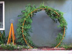 Gracie Modern Arbor & Akoris Garden Tuteur supporting climbing cherry tomatoes!  Terra Trellis Blog   Modern Ideas for Your Garden. TerraTrellis.com