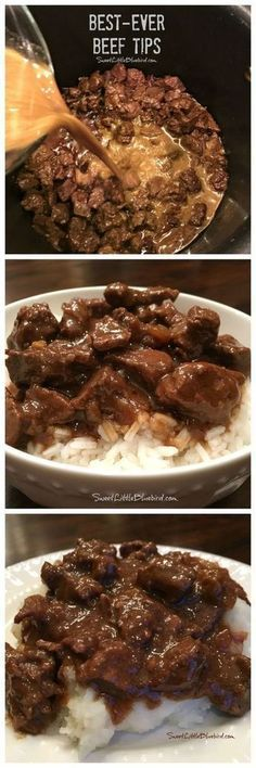Adapt for IP: BEST-EVER BEEF TIPS- Tender beef cooked in a deliciously rich gravy, served over rice, mashed potatoes or egg noodles - a satisfying, filling meal the whole family will love. Simple to make comfort food that's easy to adapt to your taste! Beef Dishes, Food Dishes, Main Dishes, Tasty, Yummy Food, Yummy Treats, Egg Noodles, Cooker Recipes, Oven Recipes