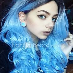 New Arrival Black BLue Ombre Color Long Wave Women Wigs Heat Resisting Syntheitc Wigs 2017 - $22.09