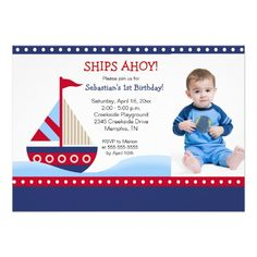 Little Sailboat Navy *PHOTO* Birthday 5x7 Personalized Announcements