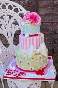 Pretty Colorful Multi-Patterned Birthday Cake