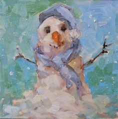 "Daily Paintworks - ""Softie The Snowman"" - Original Fine Art for Sale - © Brande Arno"