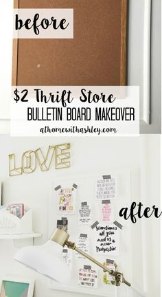 $2 Thrift Store Bulletin Board Makeover easy and cheap! No more ugly cork boards - at home with Ashley