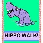 """HIPPOS IN CIRCLES! - GAME, CRAFT, AND SONG!  """"Hip-Hip-Hip Hippo Walk!  Shhhh!  Do you hear that Hippo Talk?""""  CIRCLES are everywhere in this funny ACTIVE GROUP GAME about a Hippo's very interesting day!  Make the HIPPO CRAFT (template included), and gather a few Hula-Hoops.  Now you're ready for DRAMATIC PLAY!  Your Hippos will rise and shine, do Hippo 'grooming', hunt for breakfast, and take a NOISY (snoring!) Hippo Nap!  (6 pages)  Fun CIRCLE-FINDING ACTIVITY from Joyful Noises Express…"""