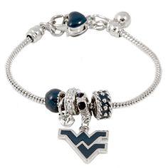 NCAA Siskiyou Sports Womens West Virginia Mountaineers Dangle Earrings and Charm Bangle Bracelet Set One Size Team Color