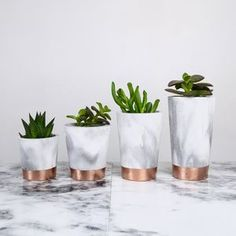 Copper Dipped Marbled Cement Pots - new gifts for her