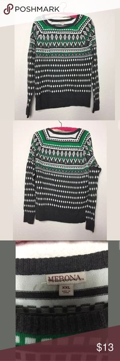 Merona fair isle Geometric patterned sweater MERONA SWEATER  GREEN GRAY AND WHITE  DIAMONDS STRIPES PATTERN  EUC  CHEST 21 IN  SHOULDER TO SEAM 27 IN S SHOULDER TO SLEEVE 27 IN Merona Sweaters Crew & Scoop Necks