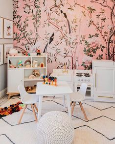 """Anewall (a•new•wall) on Instagram: """"It should be mandatory for playrooms to have pink wallpaper 🤩🎀🕊 Mural: The Magnolia  Repost: @thejadababy @tinygirlgang  #anewalldecor"""" Pink Wallpaper Murals, Help Baby Sleep, Pottery Barn Kids, Girl Room, Girl Nursery, My Design, Interior, Furniture, Playrooms"""
