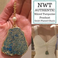 """NWT REAL Turquoise Gold Necklace Pendant fauxpearl ON VACATION UNTIL NOVEMBER! Gorgeous NWT AUTHENTIC turquoise and gold-plated pendant w/ attached gold-plated chain by Eye Candy Los Angeles! Real gold outlines pendant. Faux pearl between the pendant & attached chain. The gold-plated, lead- & nickel-free (no green stains!) zinc alloy chain is somewhat adjustable at 30.5"""" long w/ a 2"""" extender, and can be shortened a few inches with the clasp still behind your neck. This necklace comes in its…"""