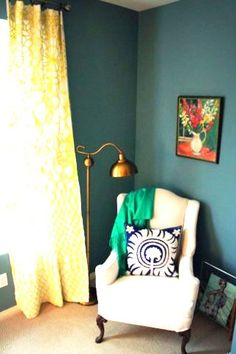 teal walls + yellow curtains