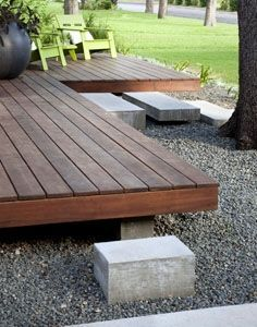 modern deck four by four wood mixed with cement - Google Search