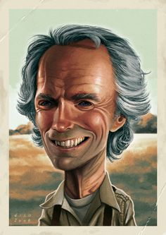 Caricature of Clint Eastwood Cartoon People, Cartoon Faces, Funny Faces, Cartoon Characters, Clint Eastwood, Caricature Artist, Caricature Drawing, Funny Caricatures, Celebrity Caricatures