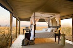 Extraordinary safari hotel room at the Wolwedans Dunes Lodge in Namibia, Africa. Open air for a romantic destination honeymoon with your own ultra luxury safari tent on the African plains. Kenia Hotel, Namibia Africa, Camping Con Glamour, Destinations, Luxury Tents, Luxury Lodges, Camping Glamping, Camping Trailers, Glam Camping