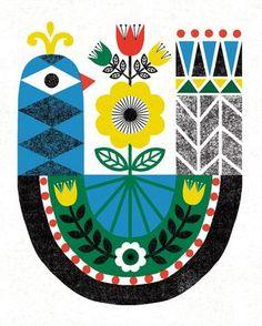 - Illustration by Michael Mullan - Printed on archival, acid-free Epson Velvet Fine Art Paper - Shown in - Frame no Scandinavian Folk Art, Arte Sketchbook, Arte Popular, Bird Illustration, Print Patterns, Art Projects, Art Prints, Crafts, Marimekko
