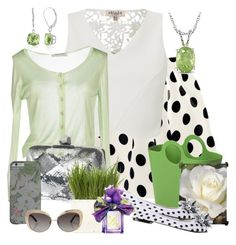 """""""Spring Green and White Office Outfit"""" by cricketdiane ❤ liked on Polyvore featuring Lipsy, Angelo Marani, Roger Vivier, Ice, Authentics, Belk & Co., CAFèNOIR, Oscar de la Renta, Summer and Spring"""