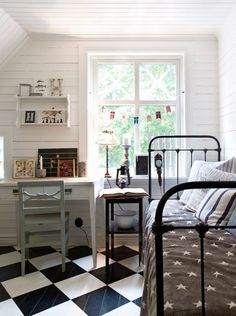 Checkered floor bedroom