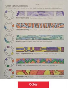 Color Theory Worksheets - Tints and Shades, Color Schemes, Color Wheel, Emotion