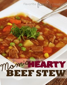Mom's Hearty Beef Stew — The steak in this stew is so tender that it practically melts in your mouth. Try making it for dinner this week. All Recipes Beef Stew, Chili Recipes, Slow Cooker Recipes, Soup Recipes, Cooking Recipes, Freezer Recipes, Jamaican Recipes, Recipies, Healthy Recipes