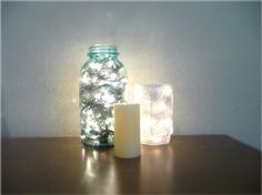 christmas lights in a mason jar ... easy and beautiful