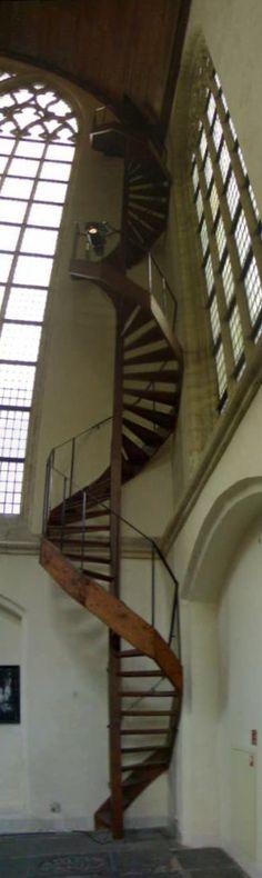 amazing spiral stairs, de oude kerk  mokum, netherlands