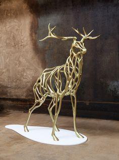 Richard Texier - Deer - #richardtexier #sculpture #deer #cerf #bronze #fonderie #foundry #bronzecasting #artist #artiststudio
