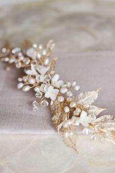 Дикие Ивы | Золотой лист свадебный головной убор