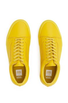 Vans for Opening Ceremony, OG Old Skool LX Sneaker NOTE: Enjoy free ground shipping on all full price Vans, Vans Vault, and Vans for OC products. Sale items do not apply.These EXCLUSIVE Vault by Vans OG Old Skool sneakers are made from a super-soft premium leather and reimagined in a monochromatic bright yellow., Unisex, US men's sizing, Soft premium leather upper, Signature logo stripe, Lace-up front, Padded collar, Canvas lining, Original waffle rubber outsole, Imported