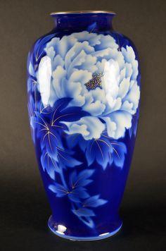 VISIT US! Fukugawa Japanese Porcelain Vase Imperial Fine China Bone Cobalt Blue and White Made in Japan #Fukagawa #Japanese #vase #peony