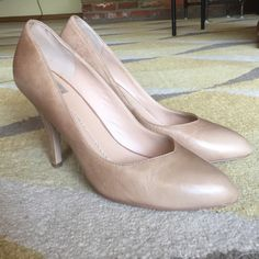 Dolce Vita Nude Leather Heels Bought these on PM but they were too big. A true size 11 (I'm a 10.5). I don't believe they were ever worn outside. In great condition! Dolce Vita Shoes Heels