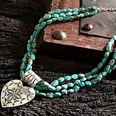 Turquoise & Silver Heart Necklace at King Ranch Saddle Shop