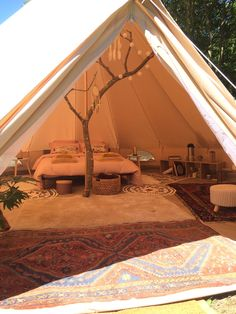 Bell Tent Glamping, Yurt Tent, Camping Glamping, Luxury Glamping, Luxury Tents, Camping Set Up, Camping Life, Tent Living, Outdoor Living