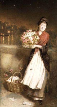 1877 - A London Flower Girl ~ Augustus Edwin Mulready ~ (English: 1844-1886)