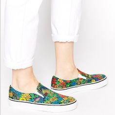 Vans Classic Liberty Print Floral Slip Ons sz 5 Like new floral Vans slip ons.  Size 5 woman's.  Used once and are in new condition with no wear. Vans Shoes Sneakers
