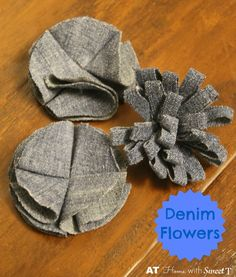 Learn how to make denim flowers from old jeans. They can be used on wreaths, pins, hair accessories and so much more.