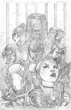 Suicide Squad trade paperback cover pencils by Jim Lee Comic Book Artists, Comic Artist, Comic Books Art, Deadshot, Jim Lee Art, Jae Lee, Superhero Coloring, Jobs In Art, Old Art