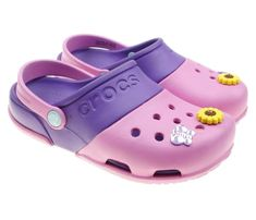 8eaafa168 Crocs Girls Classic Pink and Purple Clogs Shoes in Size Stylish!