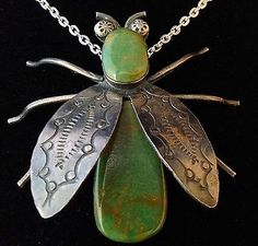 OLD PAWN LARGE ANTIQUE Navajo Silver & Turquoise Pendant/ Pin/ Signed/