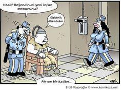 - Nasıl? Beğendin mi yeni infaz memurunu? + Elektrik alamadım... - Alırsın birazdan... #karikatür #mizah #matrak #komik #espri #şaka #gırgır #komiksözler